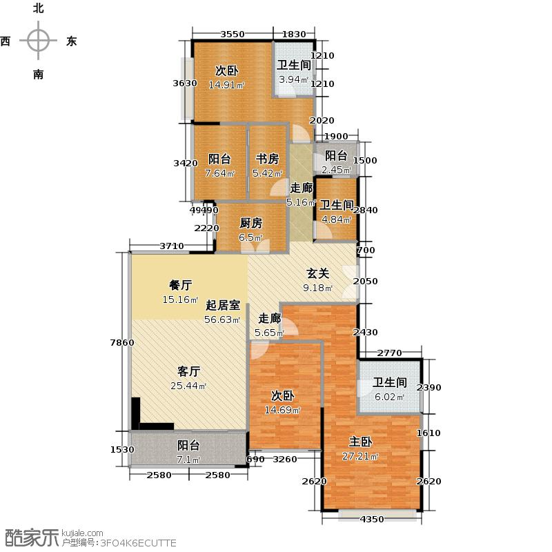 山语清晖花园A2奇数层平面图户型4室3卫1厨