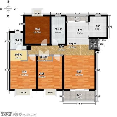 嘉乐东润舒庭3室1厅2卫1厨127.00㎡户型图