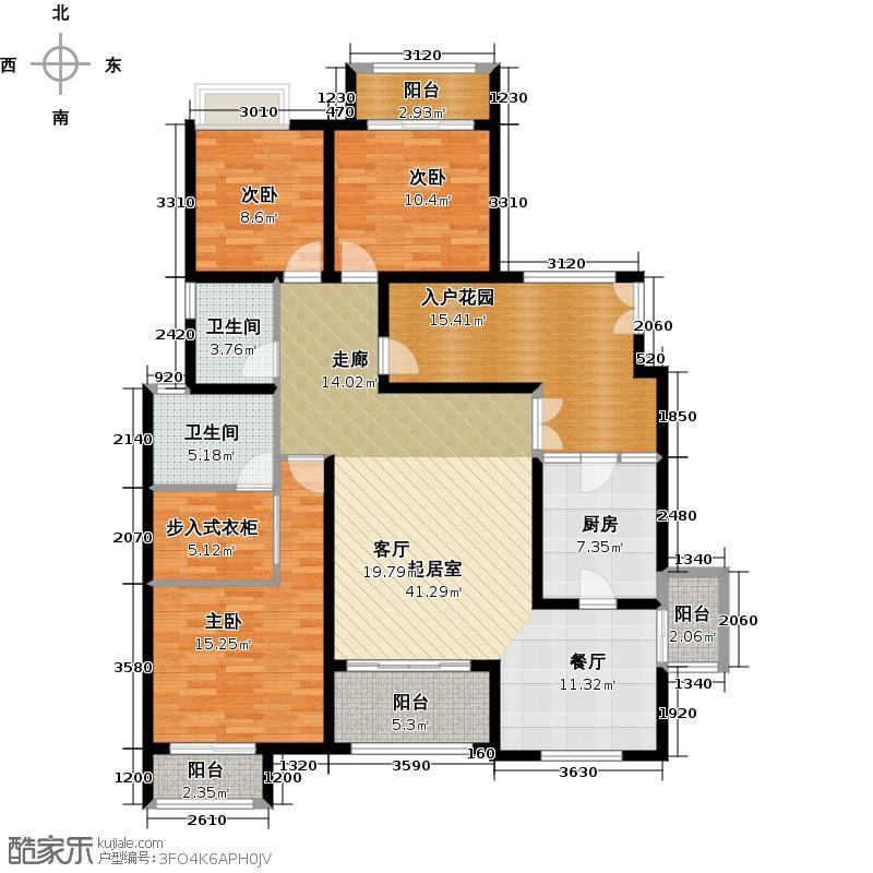 江润地中海岸一期2-6幢洋房I2户型3室2卫1厨