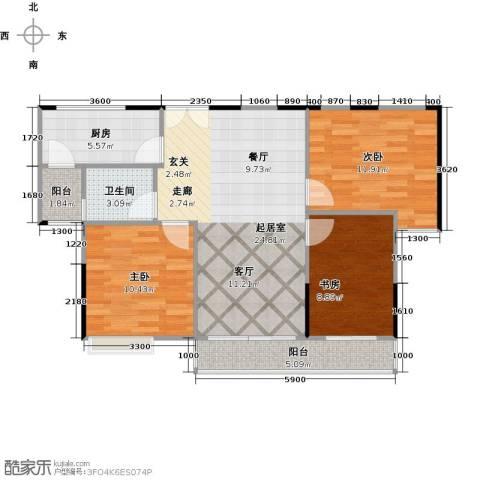 睿山3室0厅1卫1厨97.00㎡户型图