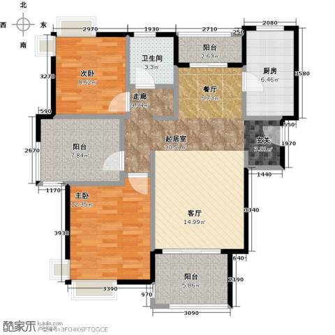 宝华海湾城2室0厅1卫1厨88.00㎡户型图