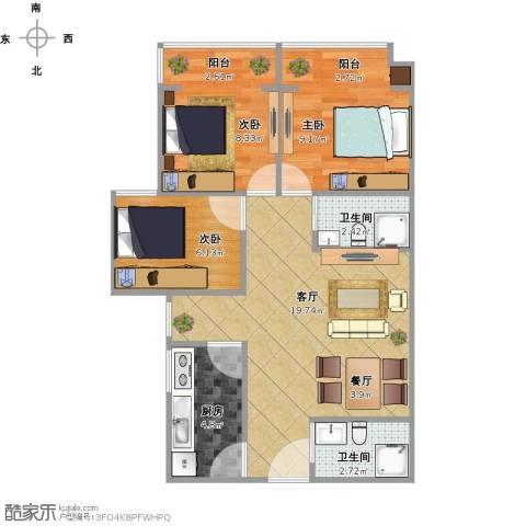 滨河公寓3室2厅2卫1厨73.00㎡户型图