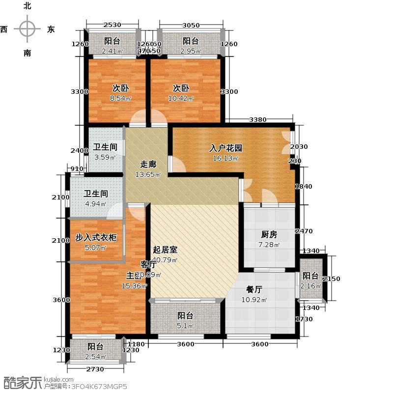 江润地中海岸一期2-6幢洋房I3户型3室2卫1厨