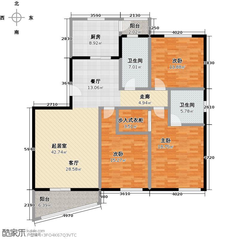 恒盛鼎城华公馆C型户型3室2卫1厨