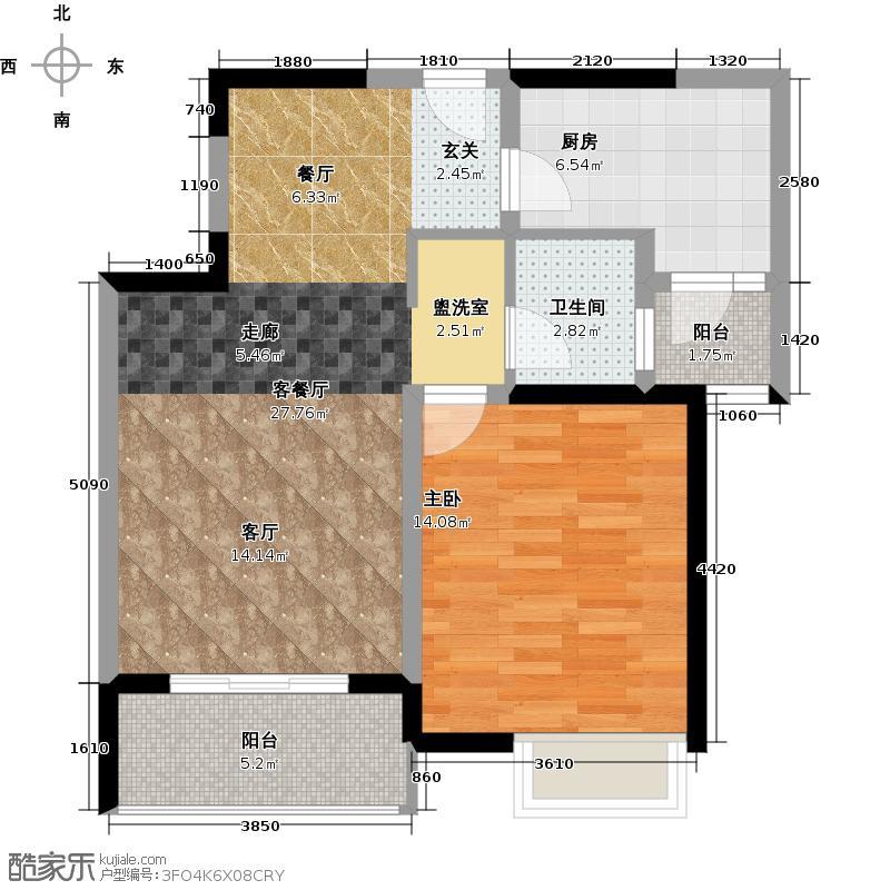 江桥万达广场35-1号户型1室1厅1卫1厨