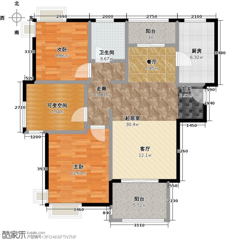 宝华海湾城小高层A户型2室1卫1厨
