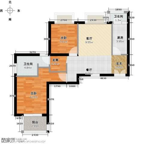黄浦逸城2室0厅2卫1厨64.00㎡户型图