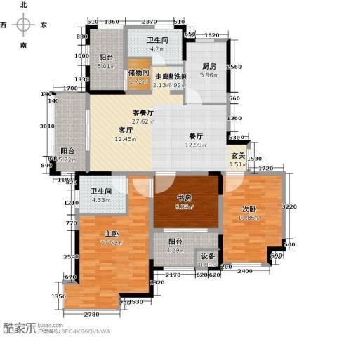 中冶祥腾宝月花园3室1厅2卫1厨113.00㎡户型图