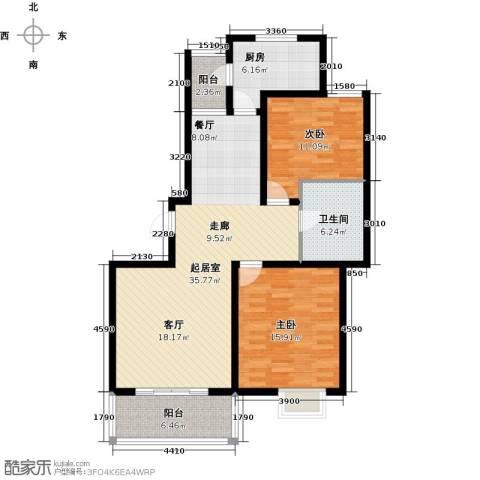 明城海湾新苑2室0厅1卫1厨96.00㎡户型图