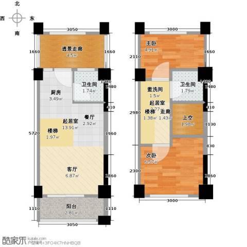 上坤公园天地2室0厅2卫0厨48.00㎡户型图