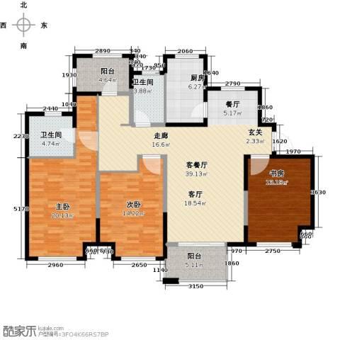 中冶祥腾宝月花园3室1厅2卫1厨124.00㎡户型图