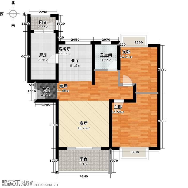 同济城市阳光A3户型2室1厅1卫1厨
