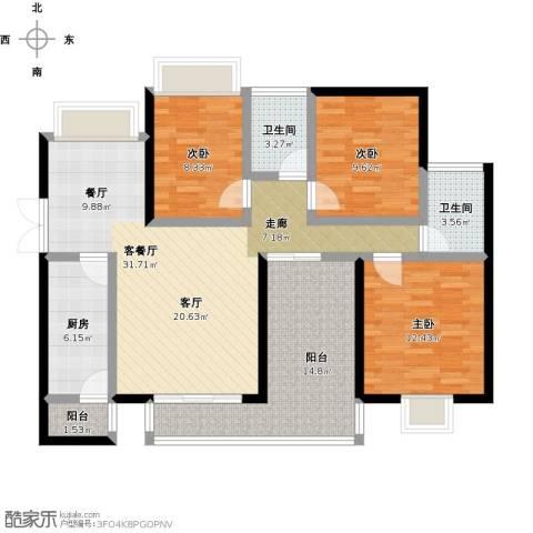 尚海湾豪庭3室1厅2卫1厨134.00㎡户型图