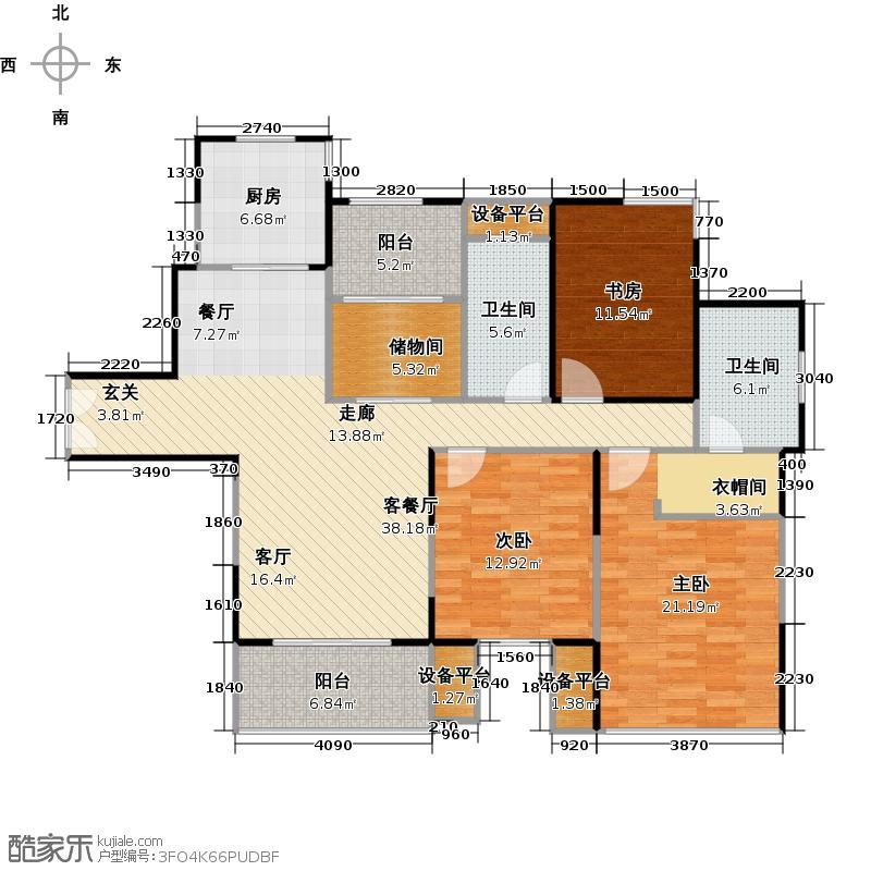 中环国际公寓10号楼N户型3室1厅2卫1厨
