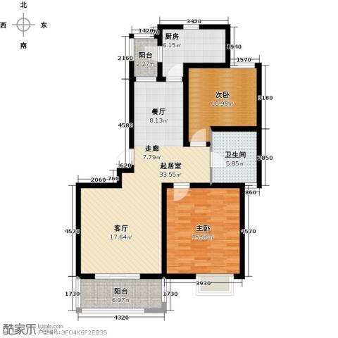 明城海湾新苑2室0厅1卫1厨93.00㎡户型图