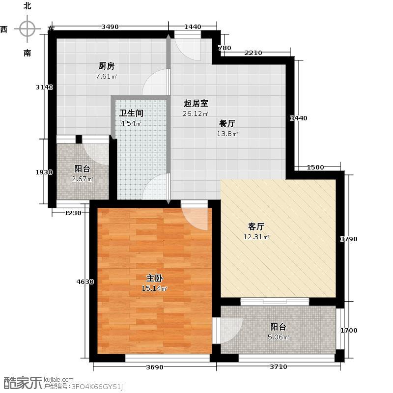 瑞虹新城�庭平层02-户型1室1卫1厨