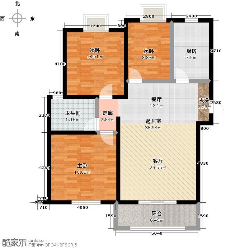 远洋香奈新品J户型3室1卫1厨