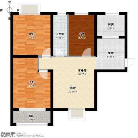 尚海湾豪庭3室1厅1卫1厨108.00㎡户型图