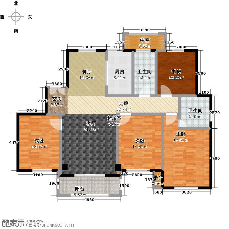宝华海尚郡领户型4室2卫1厨