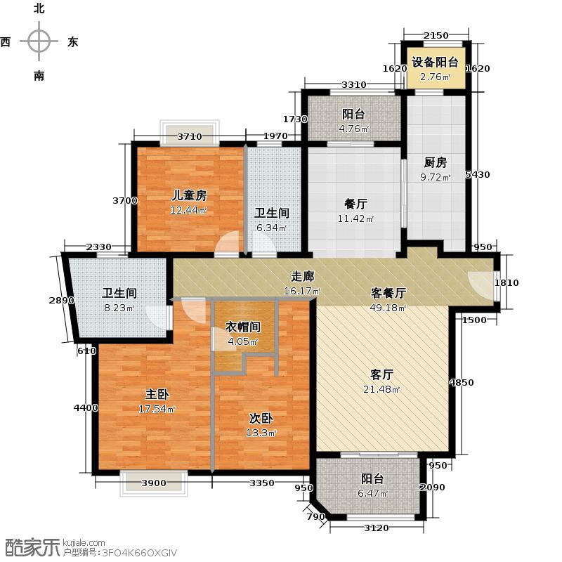 西康路9896#A户型3室1厅2卫1厨