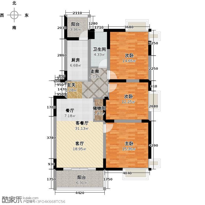 富兴雅苑A1户型3室1厅1卫1厨