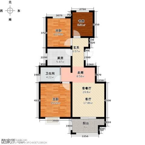 晟地润园3室1厅1卫1厨89.00㎡户型图