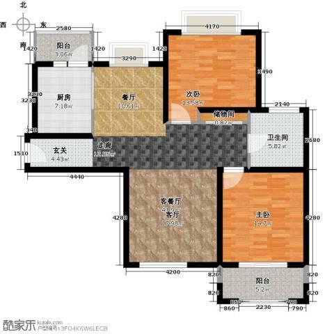 宝地东花园2室1厅1卫1厨102.00㎡户型图