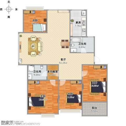 多蓝水岸银沙苑4室1厅2卫1厨182.00㎡户型图