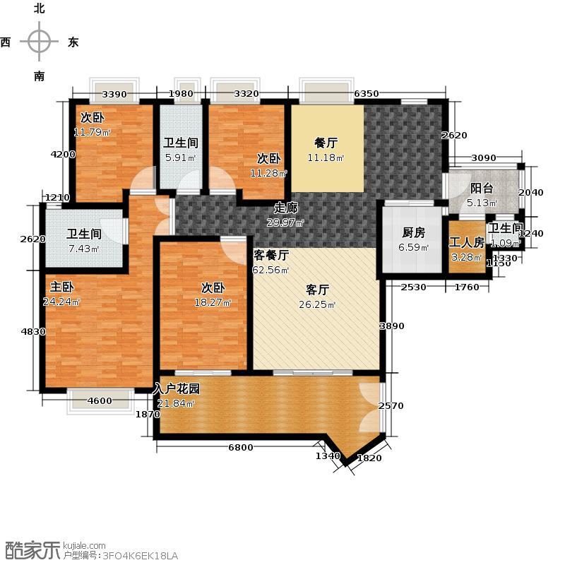 汇景新城E1-D3栋03单元户型4室1厅3卫1厨
