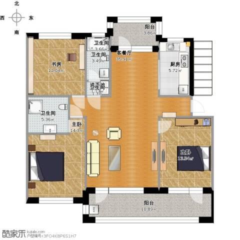 澳海澜庭3室1厅2卫1厨151.00㎡户型图