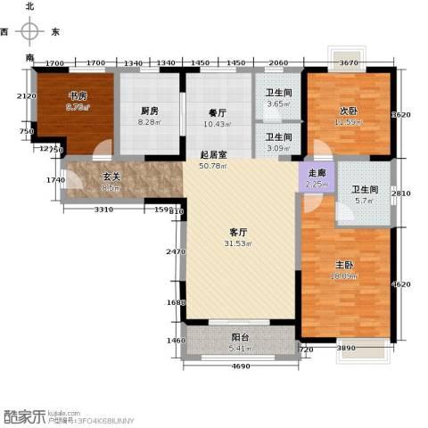 招商海德名门3室0厅2卫1厨128.00㎡户型图