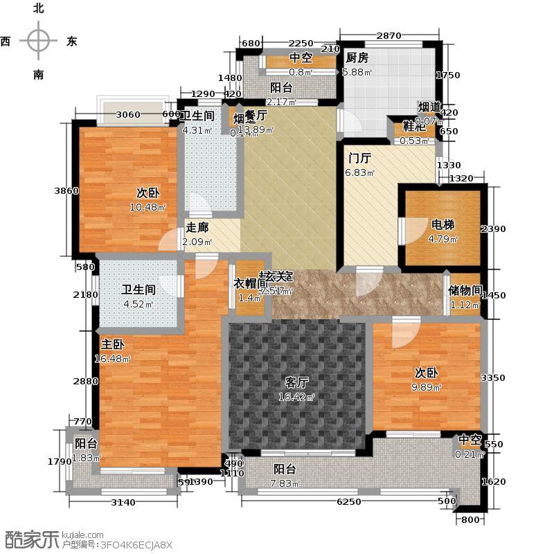 贝尚湾7号楼J户型3室2卫1厨