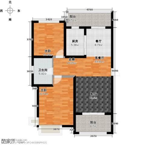 铭邦华府2室1厅1卫1厨98.00㎡户型图