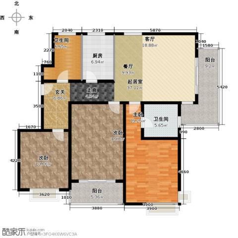 康悦亚洲花园3室0厅2卫1厨138.00㎡户型图