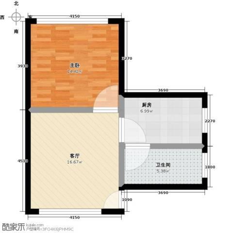 万富汇1室1厅1卫1厨50.00㎡户型图