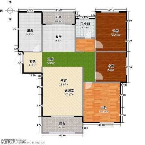 虹桥宝龙城3室0厅1卫1厨116.00㎡户型图