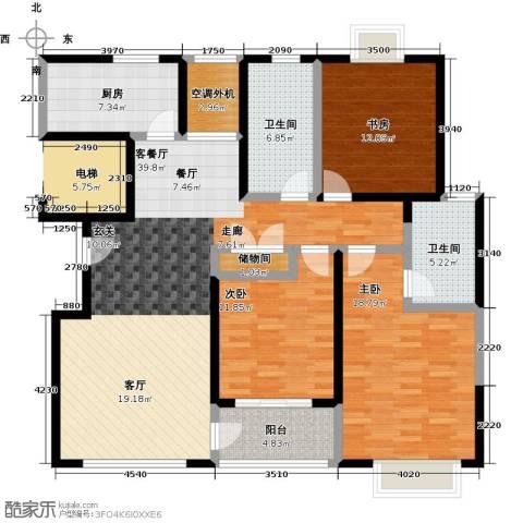 嘉乐东润舒庭3室1厅2卫1厨128.00㎡户型图