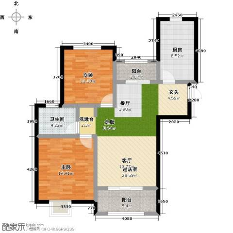 虹桥宝龙城2室0厅1卫1厨88.00㎡户型图