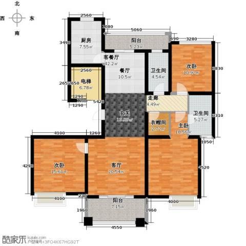 铭邦华府3室1厅2卫1厨138.00㎡户型图