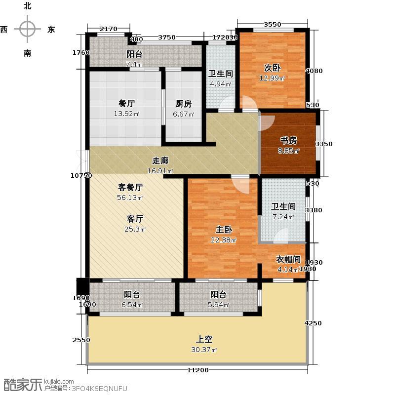 保利星海屿E1户型3室1厅2卫1厨