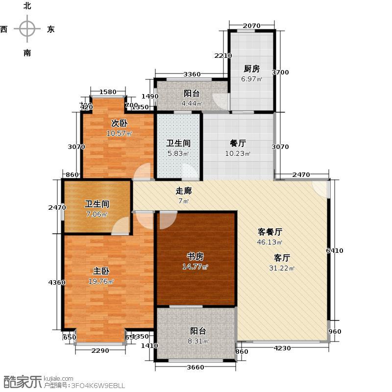 象屿名城G1户型3室1厅2卫1厨