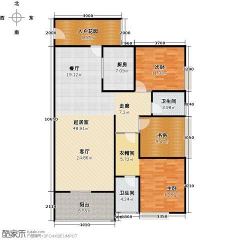 骏逸第一江岸孔雀湾二期3室0厅2卫1厨121.00㎡户型图