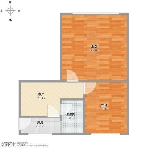 瞿溪新村2室1厅1卫1厨55.00㎡户型图