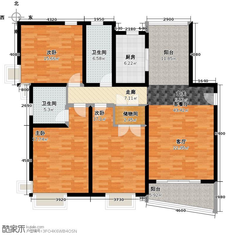保利西子湾A2型户型3室1厅2卫1厨