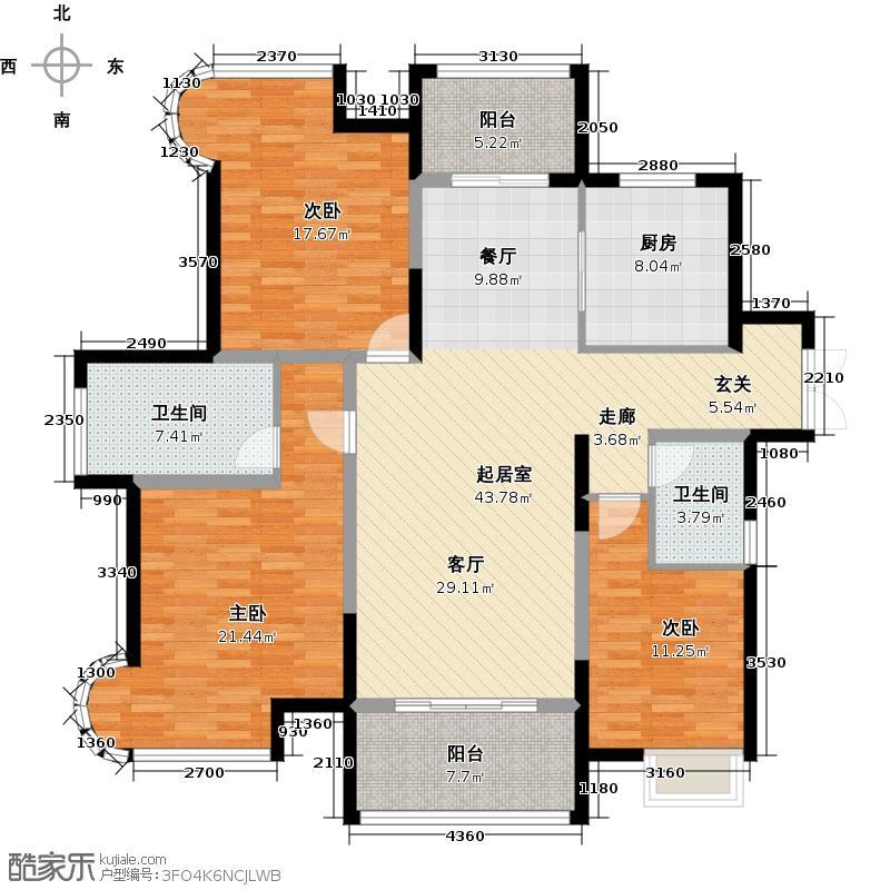 苏宁睿城E户型3室2卫1厨