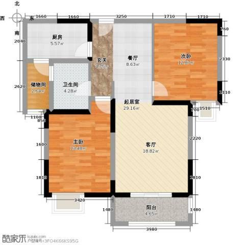 招商海德名门2室0厅1卫1厨85.00㎡户型图