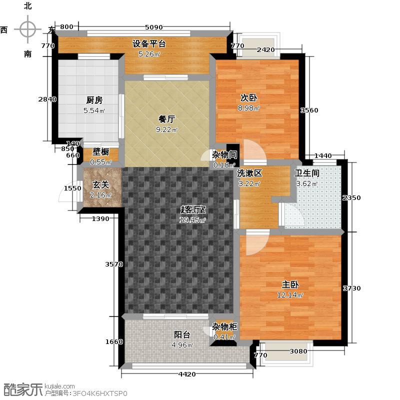 绿地百年宅G3户型2室1卫1厨