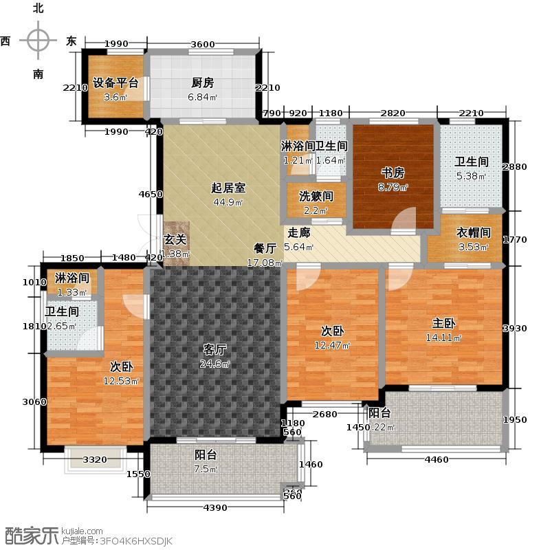 绿地百年宅H1户型4室3卫1厨