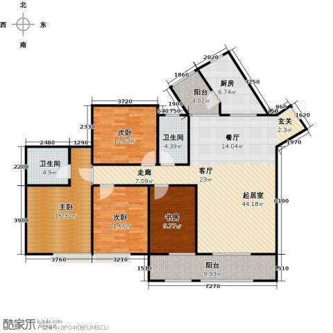 骏逸第一江岸孔雀湾二期4室0厅2卫1厨123.54㎡户型图