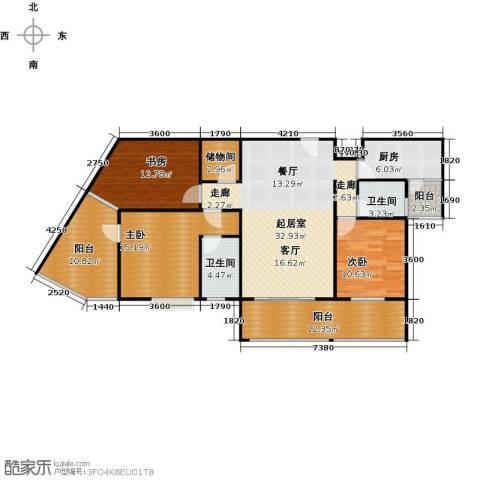 骏逸第一江岸孔雀湾二期3室0厅2卫1厨113.73㎡户型图